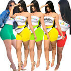 Sexy Women Strapless Letter Print Casual Summer Club Bodycon Short Jumpsuit 2pcs