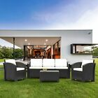 Outdoor Rattan Garden Furniture 4-5 Seater Corner Sofa Patio Set With Cushions