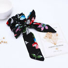 Women Print Elastic Ribbon Bow Hair Tie Rope Hair Band Scrunchies Ponytail shan