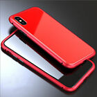 Magnetic Adsorption metal case luxury tempered glass cover for iphone X Red/Red