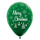 Sempertex 25: Merry Christmas Red Lime Green Latex Balloon