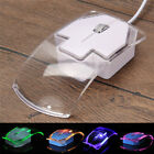 USB Wired Mouse Transparent Ultra Thin Luminous Optical Mice for PC Laptop JKUS