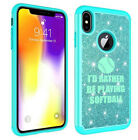 For Apple iPhone Glitter Bling Shockproof Case I'd Rather Be Playing Softball