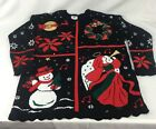 Vtg Black Ugly Christmas Santa Snowman Sweater Glitter Party Winner Women Large