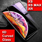 Screen Protector for iPhone XR,XS,XS MAX 9H 6D Curved FULL COVER TEMPERED GLASS