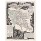 Geography Map Illustrated Antique Levasseur Charente Maritime Framed Art Print