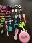 Lot of 35+ Vintage Barbie Doll Hair Accessories, Case, Barrettes, Blow dryers