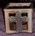 """Cross Tealight Candle Holder--RED OR BLUE--ceramic--3 1/2"""" X 3 1/2"""""""