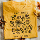 Plant These Save The Bees Sunflower T-shirt Women T Shirts Graphic Tees Summer T