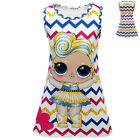 Lovely Kids Girls LoL Surprise Dolls Dresses Wave Print Slim Summer Dress 3-8Y