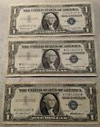 1957, 57 A & 57 B  $1 SILVER CERTIFICATES ONE DOLLAR Blue Seal Notes 3 Bill Lot