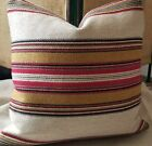 Andrew Martin CHINOOK Multi Belgian Blanket Stripe Linen Bamboo Pillow Cover!