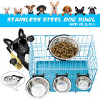 Pet Dog Puppy Stainless Steel Hanging Food Water Bowl Feeder For Crate
