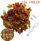 10/20/40/100led Fall Maple Leaf String Lights Autumn Garland Home Wedding Decor