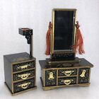 AC28  Set Of 2 Japanese Hina Doll Wood Lacquer Dresser and Chest Mirror