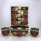 AC29 Set Of 4  Japanese Hina Doll Wood Lacquer Chest Cabinet Box