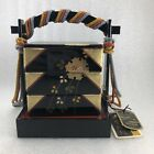 AC31 Japanese Hina Doll Miniature  Wood Lacquer Lunch Bento Jubako