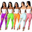 New Sexy Women Ripped Hole Skinny Bodycon Club Casual Long Jeans Denim Pants