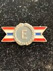 WWII US Army Navy Production Pin, Sterling Silver, Letter E, Pilot , Ralph Cox