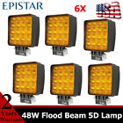 5D Lens 6pcs 48W LED Work Light Flood Beam For Off road 4WD GMC Driving Jeep MK