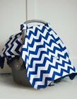 Baby Balboa Car Seat Canopy Blue Gray Leaves Plaid Boy Infant Car Sear Cover