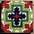 "10~Talavera Mexican pottery 4"" tile classic Red Lime Green geometric blue white"
