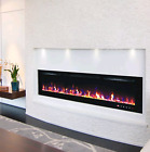 60 INCH LED FLAMES WHITE / BLACK GLASS WALL MOUNTED ELECTRIC FIRE FIREPLACE 2019