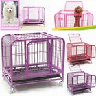 Heavy-Duty Folding Strong Steel Pet Dog Puppy Cage Crate Carrier Wheels 25'' !