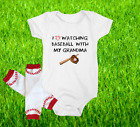 Baseball Onesie Bodysuit And Leggings Set Love Watching WIth Grandma