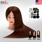 """24"""" Real Hair Training Practice Head Mannequin Hairdressing or Braid Tool Set"""