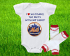 New York Mets Outfit Onesie And Leggings Set Watching WIth Daddy on Ebay