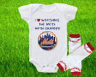 New York Mets Outfit Onesie And Leggings Set Watching WIth Grandpa on Ebay