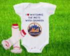 New York Mets Outfit Onesie And Ruffle Leggings Set Watching WIth Grandpa on Ebay