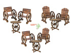 Wood Wagon Wheel Themed Set Garden Furniture Chair Table Yard Decor