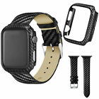 Luxury Carbon Fiber Leather Strap Cover For A pple Watch Series 4  Band 44/40mm