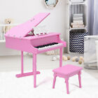 Childrens Fancy Baby Mini Grand Piano With Bench Kids Wood Toy 30-Keys 2-Colors