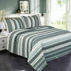 3 Piece Stripe Quilt Set w/ Fitted Sheet Pillowcases  image