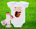 Baltimore Orioles Outfit Onesie And Ruffle Leggings Set Watching With Grandma on Ebay