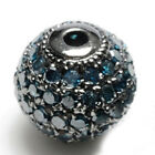 925 Sterling Silver Natural Diamond Pave Disco Bead Ball Vintage Spacer Finding