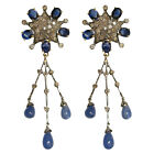 18k Solid Gold 1.5ct Pave Diamond Gemstone Vintage Dangle Earrings FREE SHIPPING