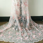 Beautiful Pink Floral Embroidery Venice Lace Fabric Mesh DIY Bridal Wedding Dres