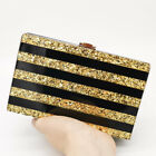 Striped Women Acrylic Box Clutch Evening Handbags Party Cocktail Shoulder Bag