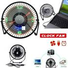 HK-Mini USB Table Desk Cooling Fan LED Clock w/ Real Time Display