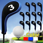 12pcs/set Golf Clubs Iron Head Covers Headcovers with Zipper Long Neck Protect
