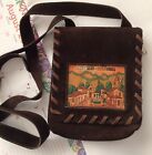 Women's Small Leather Brown  Purse From Medellin Colombia Adjustable Strap