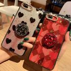 Bling Heart Diamond Ring Holder Stand Case Cover For iPhone 6 6S 7 8 X XS Max XR