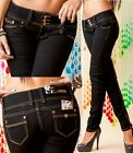 Sexy Miss Dodo Women's Hipster Trend Jeans Skinny Trousers Low Cut Black 36 38
