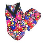 Vtg Body Co Womens L Bright Colorful 80s 90s One Piece Swimsuit Jogger Pants Set