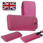 Pink Leather Slim Pull Tab Phone Cover Pocket Pouch For Xiaomi Redmi Note 7S