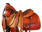 BROWN LEATHER SADDLE WESTERN 17 16 HORSE PLEASURE TRAIL REINING TOOLED TACK SET